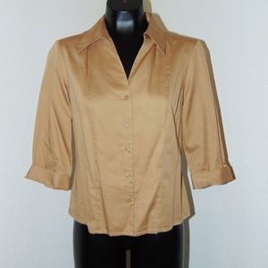 Brown Collared Button Down Blouse by Apostrophe